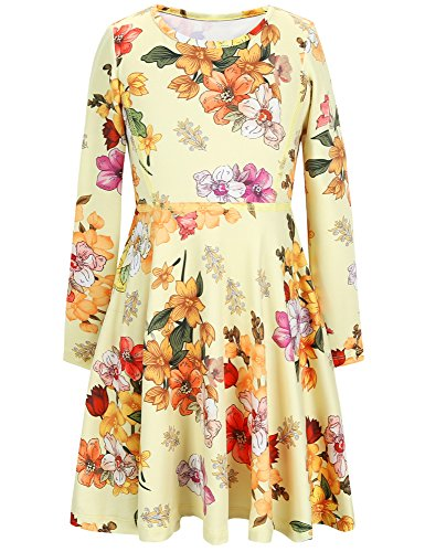 Jxstar Girls Dress Vintage Flowers Print Dress Long Sleeve tshirt Dress Vintage Beige 150  Vintage Beige Fall  6-7Years Height 48in Vintage Beige Fall 10-11Years Height 57in -