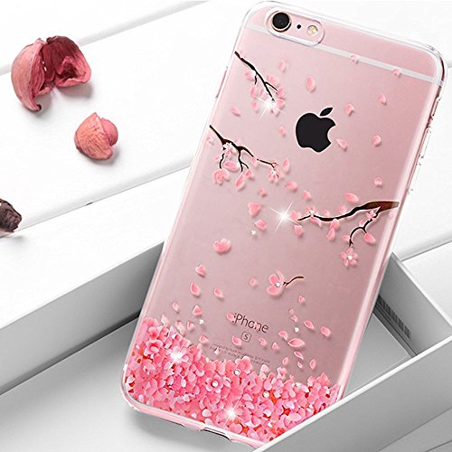 Price comparison product image UCLL iPhone 6 6s Case, Soft Transparent Cherry Leaf Case for iPhone 6 4.7'' with a Screen Protector
