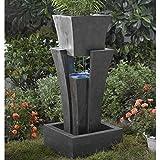 Jur_Global Raining Water Fountain Planter with Led Light