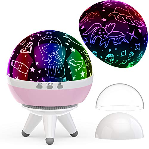 MINGKIDS Princess Gifts Age 3 4 5,Girls Gifts for 1-14 Years Old,Unicorns Princess Projector,9 Color Options Projector Lamp Sleep Light,, Girls Toys Age 1 2 3 4 5 6 7
