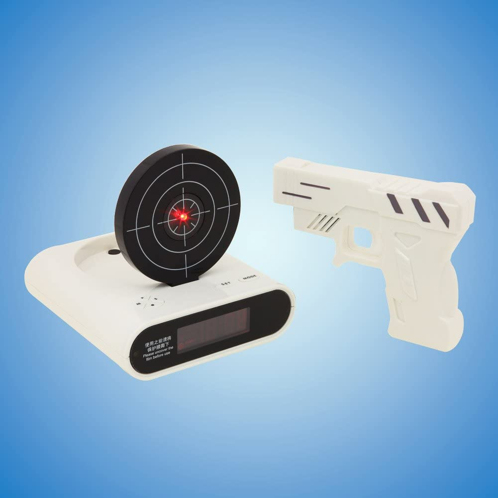 Tera Despertador Blanco con Pistola de Disparo Reloj Despertador con Tirador y Blanco
