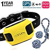 OCEVEN Wireless Dog Fence System with GPS, Outdoor Pet Containment System Rechargeable Waterproof Collar EF851S, Yellow, for 15lbs-120lbs Dogs with 2pcs Toys for Free