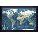 World Map Push Pin Framed Map - Voyager 2 World Map - Designed by a Professional Geographer (Master's in Geography)