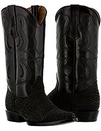 Men's Black Genuine Buffalo Bull Leather Cowboy Boots J Toe
