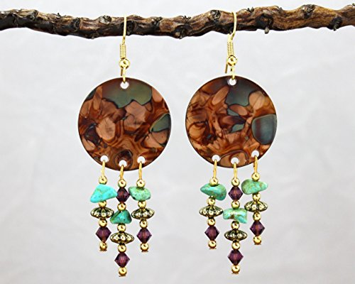 Burnt Copper Chandelier Earrings with Amethyst Crystal and (Smith Turquoise Earrings)