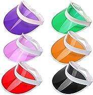 6 Pcs Sun Visor Hats, Unisex Women Men Kids Sports Ultralight Sun Shield Outfit accessory for Hen Parties, Fan