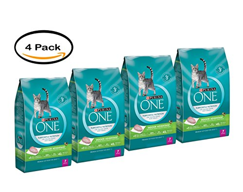 PACK OF 4 - Purina ONE Indoor Advantage Adult Premium Cat Food 7 lb. Bag by Purina ONE