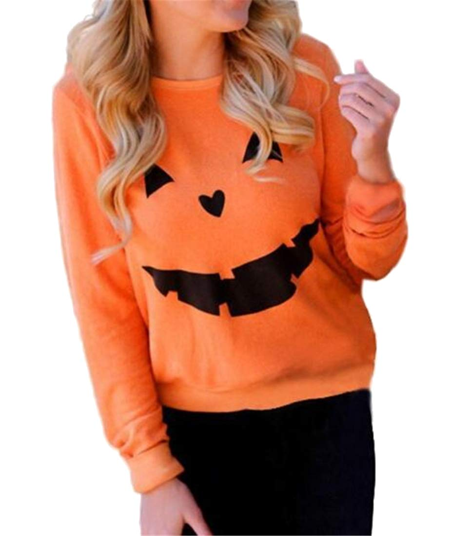 Jofemuho Womens Casual Crew Neck Halloween Pumpkin Loose Pullover Sweatshirt