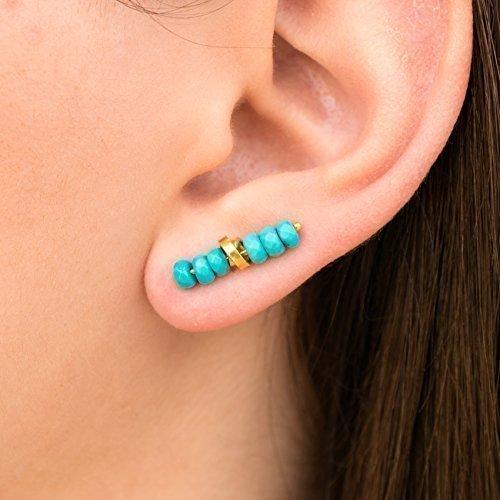 Rose Turquoise Earrings Gold (Turquoise earrings gift, bohemian earrings, boho earrings, ear climber earrings, ear crawlers, turquoise ear cuffs, turquoise jewelry by Emmanuela)