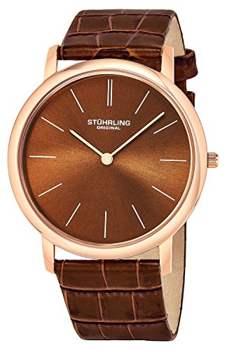 Stuhrling Original Men's 601.3345K55 Classic Ascot Ultra-Thin Watch with Croco-Embossed Band