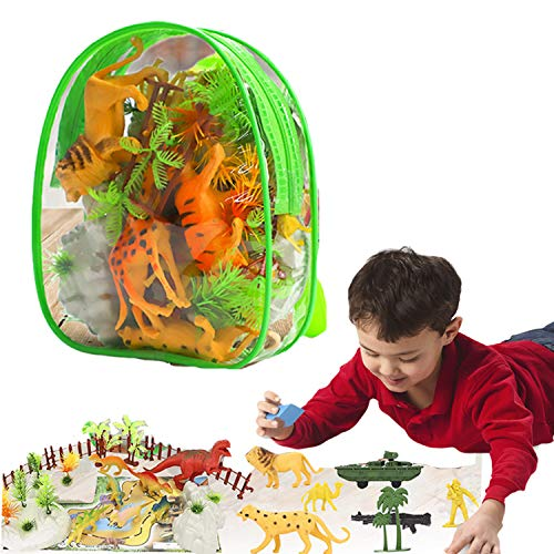 Animal Toys Figures Playset for Kids Toddlers Boys 4 5 6 7 8 9 10 Years Old Children Birthday Gift Wild Jungle Forest Jumbo Cute Animal Figure Plastic Realistic Zoo Playset Party Favors Backpack