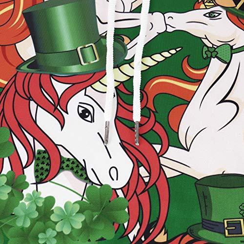 Patrizio A Flychen Festa Casuale Alla Donna Con Rossa Irish Costume Stampata 3d Per Moda Cappuccio Manica Felpa Criniera San Gialla Lunga Green E 7x8rCqw7
