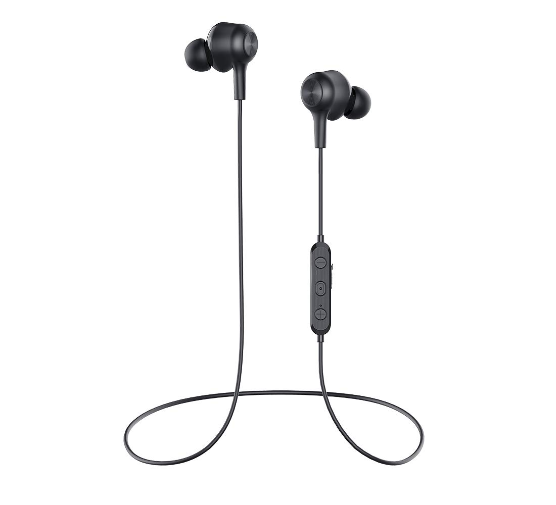 Wireless Earbuds Headphones Bluetooth v5.0 Earbuds Stereo BASS Wireless Earbuds,Magnetic Bluetooth Earphones, IPX6 Water-Resistance 8Hrs Playtime and Headphones with Mic for Running Black