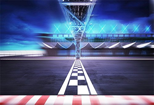CSFOTO 5x3ft Background for Finish Line Gate on Racetrack in Motion Blur Side View Photography Backdrop Speed Racing Night Tournament Battle Championship Photo Studio Props Polyester Wallpaper
