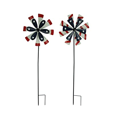 Things2Die4 Red White and Blue Windmill Flowers Wind Spinner Garden Stake Set of 2 : Garden & Outdoor