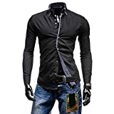 Kemilove Men's Autumn Casual Formal Solid Slim Fit Long Sleeve Shirt Top Blouse