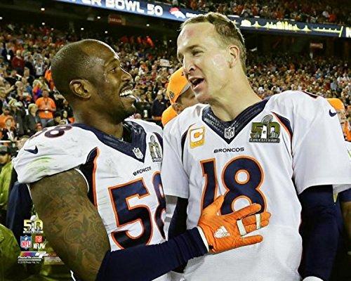 (Von Miller Peyton Manning Denver Broncos Super Bowl 50 Photo (Size: 20