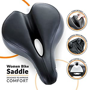 Most Comfortable Bike Seat for Women - Exercise Bike Seat for Comfort - Padded Bicycle Saddle by Bikeroo