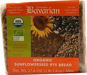 Genuine Bavarian Organic Sunflowerseed Rye Bread -- 17.6 oz