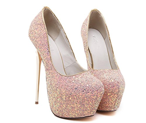 Boda Plataforma Señoras Blanco para Mujer Alto Pink Negro Zapatillas Zapatos Lentejuelas Impermeable Zapatos Tacón Noche Corte Paseo Parte Estilete 8r40w8nq