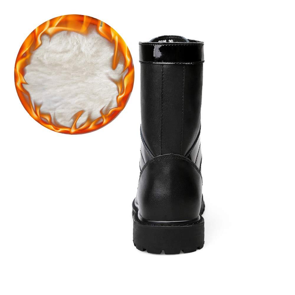 Shufang-schuhe Herrenmode Mittelstiefel, Casual Nachahmung High-Top-Sohle Nachahmung Casual Armee Stiefel (Warm Velvet Optional) (Farbe   Warm schwarz, Größe   38 EU) 20ee4a