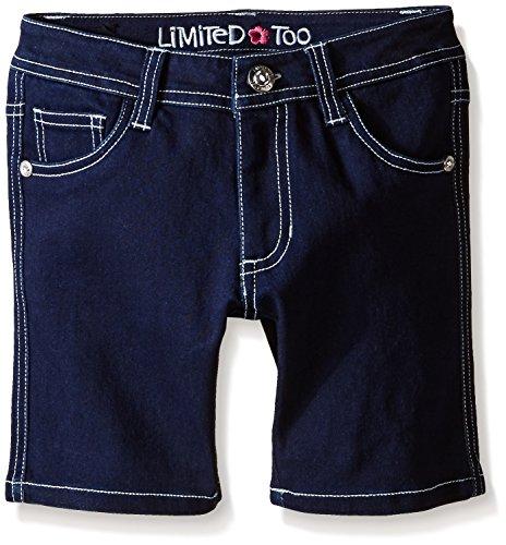 Limited Too Little Girls' Toddler Super Soft Denim Bermuda Short, Dark Wash, 2T Girls Denim Bermuda Shorts