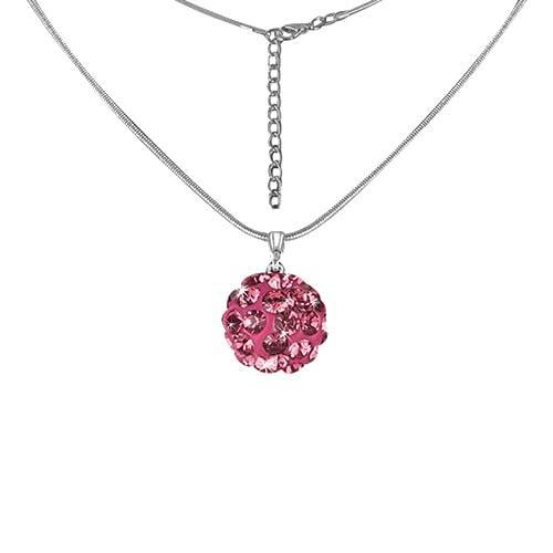 12bd22abec3c Mianova Damen Kette Halskette Shamballa Kugel Anhänger mit Zirkonia Strass  Kristallen Glitzer Steinen Silber Pink  Amazon.de  Schmuck