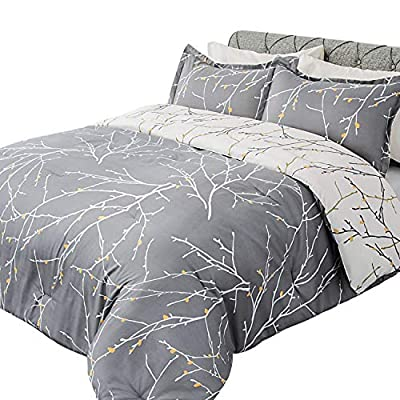 Bedsure Comforter Set King Size, Reversible Down Alternative Comforter Microfiber Duvet Sets (1 Comforter + 2 Pillow Shams), Tree Branch Floral, Grey&Ivory - FANTASTIC NATURAL PATTERN: Bedsure Tree Branch Printed Floral Comforter Queen Size Grey and White is decked out a picturesque print pattern on a calming Gray ground just like Orange plum blossom with White branches sprout up the sky - Reversible stunning tree branch motif design updates the look of your bed in flash with one side of grey and white to the other. PREMIUM FILLING CHOSEN: Stuffed with 300GSM whole piece microfiber, down alternative comforter with dense filling which keeps from clumping will provide you the luxurious soft and warmth similar as down comforter - Unlike down with fluffy feathers, down alternative duvet insert is hypoallergenic, perfect for those feather allergy sufferers - Machine washable comforter maintains easy cares unlike down comforter needs professional cleaning. INTIMATE DETAIL DESIGN: Bedsure Tree Branch Comforter featuring stylish box-stitching pattern will keep the duvet insert from shifting and clumping in order to keep you feel more comfortable - Prevent from loosing thread for comforters by crafting with 7 stitches per inch - Covered by picturesque plum blossom motifs, this floral comforter will satisfy your needs to use as a comforter alone or enhance your bedding together with duvet cover. - comforter-sets, bedroom-sheets-comforters, bedroom - 51GvwRakhfL. SS400  -