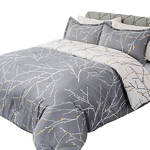 Bedsure Comforter Set King Size, Reversible Down Alternative Comforter Microfiber Duvet Sets (1 Comforter + 2 Pillow Shams), Tree Branch Floral, Grey&Ivory (Comforter Grey King)