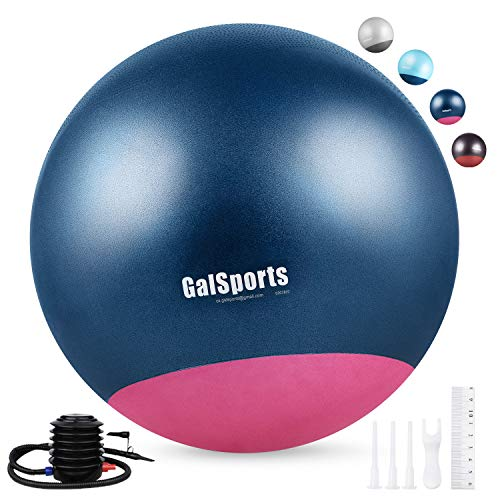 (GalSports Exercise Ball Yoga Ball Stability Ball with Extra-Thick Base for Workout, Seating, Fitness & Birthing, Anti-Burst (Chinese Porcelain & Strawberry Ice, 60cm (Fits 5'3''-5'6'' Inches)))