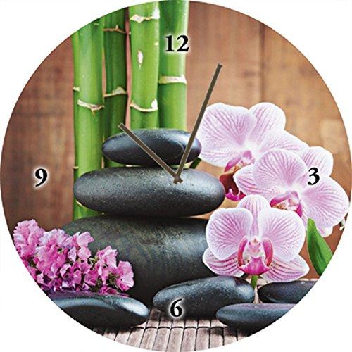 Artland Qualitätsuhren I Funk Wanduhr Designer Uhr Glas Funkuhr Größe: 35 Ø Zen Stein Pink Rosa G3GH