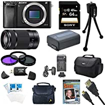 Sony Alpha a6000 Sony a6000 ILCE6000/B ILCE6000 24.3 Interchangeable Lens Camera - Body only with Sony E 55-210mm Lens BUNDLE with 64GB Class 10 Card, Spare Battery, Deluxe Padded Case, Micro HDMI Cable, DVD SLR Guide, SD Card Reader, and MORE