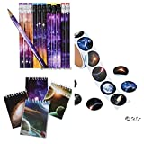 (48) GALAXY Party Favors- 24 Mini Spiral NOTEBOOKS & 24 PENCILS Plus 48 Outer Space STICKERS - Party FAVORS - Science - PLANETS - SOLAR SYSTEM Classroom TEACHER Rewards