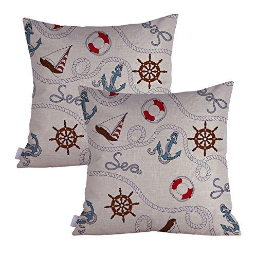 Queenie® - 2pcs Nautical & Marine Theme Thick Cotton Linen Pillowcase Cushion Cover Decorative Throw Pillow Case 18 X 18 Inch 45 X 45 Cm, Set of 2 (Sailing Boat & Buoys)