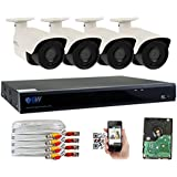 GW 8-Channel 4MP Home Security Camera System 5 IN 1 Video DVR and (4) 4.0MP 1440P Outdoor Indoor Weatherproof CCTV Cameras with IR Night Vision
