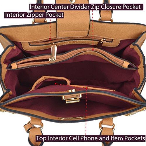 DASEIN Women Designer Handbag Vegan Leather Satchel Purse Structured Work Bag Briefcase w/Bonus Wristlet