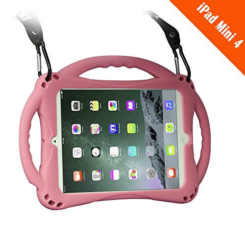 TopEsct iPad Mini 4 Case Kids Shockproof Handle Stand Cover&(Tempered Glass Screen Protector) for iPad Mini4 (Mini4 Pink)