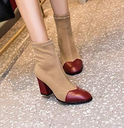 Short Chic Square Toe Carolbar Boots Red Heel Women's High qYSRxwfWZ