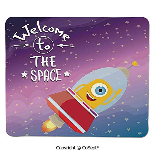 Gaming Mouse Pad,Welcoming Quote Print with Retro Mascot Vessel Traveling in Milky Way,for Computer,Laptop,Home,Office & Travel(15.74
