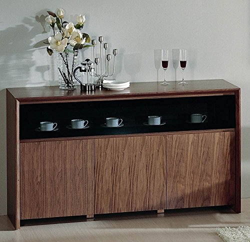 (BH Design Stark Buffet with Double Hinged Glass Door, Walnut Veneer)