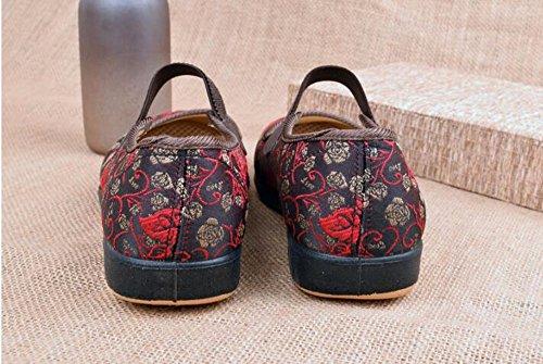 Scarpe Piatto Scarpe Superficiale Donna Bocca Vecchie Scarpe Antiscivolo Solo Panno Vecchia Scarpe GTVERNH Primavera Fondo gules Pechino Da Mamma 6qSCax
