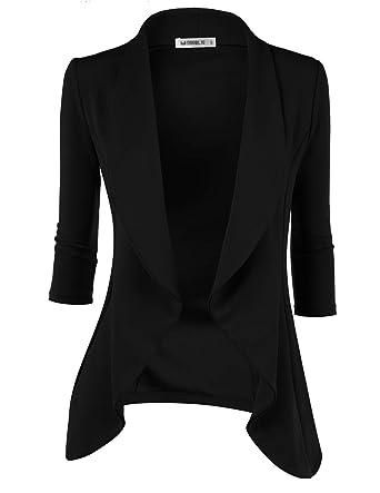 5ad8ccf7e48ce Doublju Womens Lightweight Classic Draped Open Front Blazer with Plus Size  Black Small