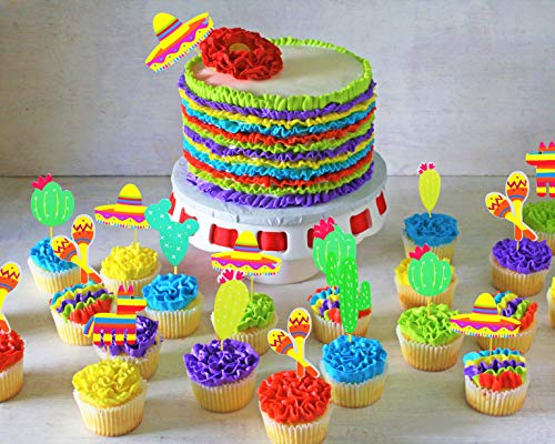 JeVenis (42 pcs) Fiesta Cupcake Toppers Mexican Fiesta Party Striped Decorative Cake Topper for Mexican Themed Cactus Donkey Taco Pepper Sombrero Mustache Party Decorations by JeVenis (Image #4)