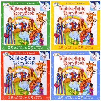 Wonder Kids My Build*a*Bible Storybook & CD Set of 4 (25 Bible Stories & 25 Bible Songs)
