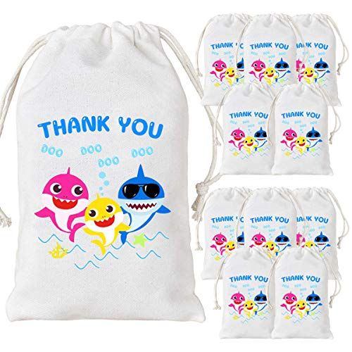 12 Pack Baby Shark Party Bags Supplies Baby Shark Goodie Candy Treat Bags for Party Favors Boys Girls 1st 2nd Birthday Party Baby Shower ()
