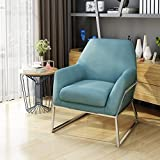 Zach Modern Blue Fabric Chair with Stainless Steel Frame