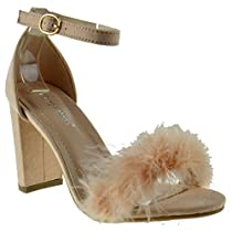 Top Moda Konner 30 Womens Feather Chunky Heel Sandals Blush 5.5