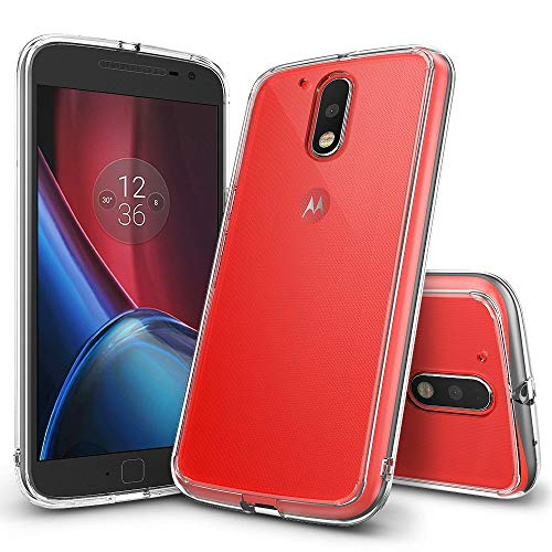 Ringke Fusion Compatible with Moto G4 Case, Moto G4 Plus Case Crystal Clear Transparent PC Back Silicone Bumper Shock Absorption Protective Cover for Motorola Moto G 4, Moto G 4 Plus 2016 - Clear