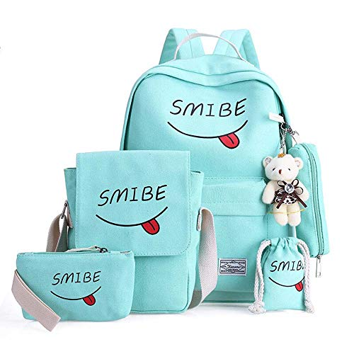SEY Girls School Canvas School Backpacks,6 Sets Smile Casual Daypacks for Women's Travel and Hiking