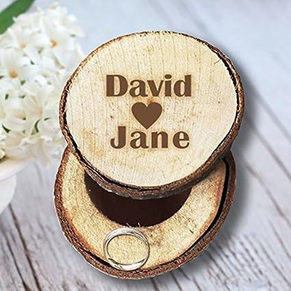 Nombre de novio y de la novia personalizado Anillos de Boda Caja Madera titular de anillo